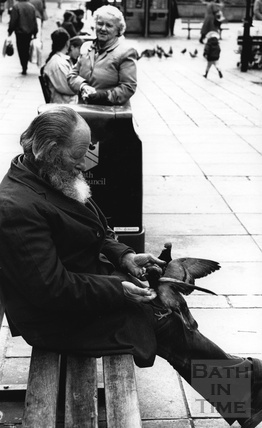 A man on a bench feeding pigeons