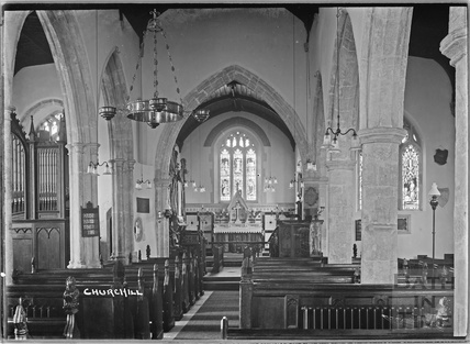 Inside the church at Churchill nr.Langford, Somerset June 1935