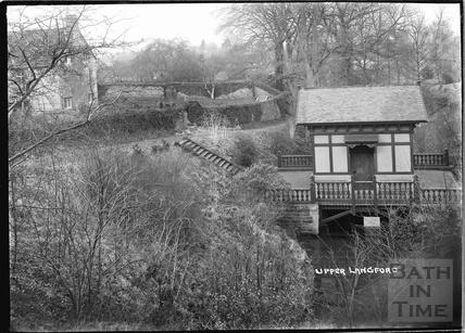 Garden Pavilion straddling a river, Upper Langford, Somerset c. 1935
