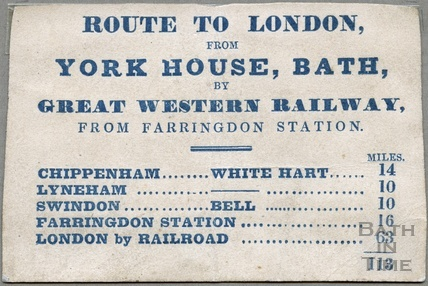 Route card for coaches from London to the York House Hotel c.1840