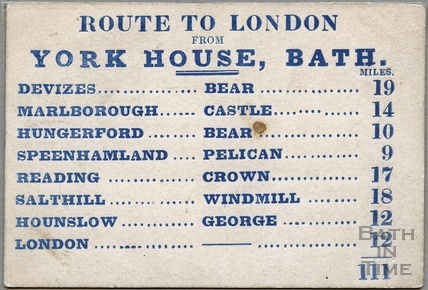 Route card for coaches from the York House Hotel to London c.1840