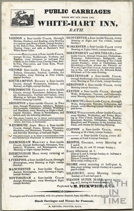 A list of Public Carriages (coaches) operating out of the White Hart Inn, Bath by Mr Moses Pickwick. c. 1830