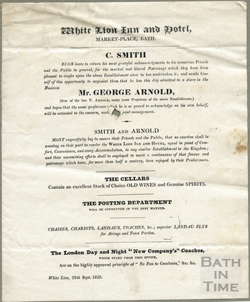 Announcement by Mr C. Smith of his joining the established Arnold coaching business at the White Lion Hotel, Bath 29th Sept 1829