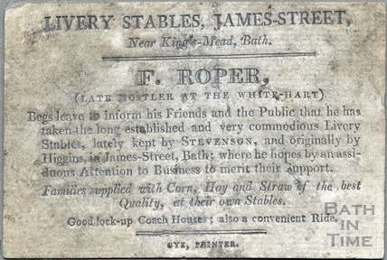 F. Roper, Livery Stables, James Street, Bath - Near Kings-Mead c.1805