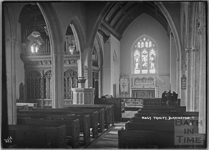 Inside Holy Trinity church, Burrington No.4, Somerset March 1935