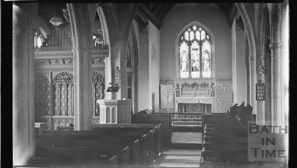 Thought to be inside Holy Trinity church, Burrington, Somerset February 1935
