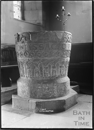 The font, Lullington Church, near Beckington, Somerset c. 13 October 1935