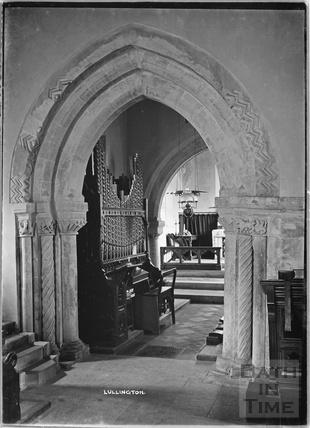 Inside Lullington Church, near Beckington, Somerset c. 13 October 1935