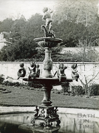 The fountain at Widcombe Manor, as located in the gardens c.1910
