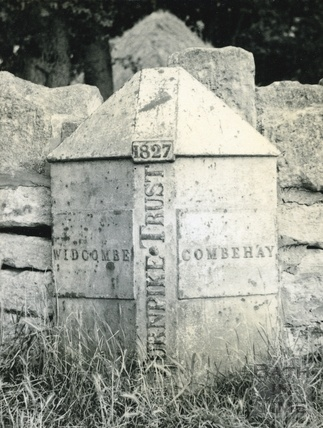 Parish boundary marker at Odd Down near the site of the Burnt House Turnpike c.1950s