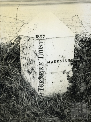 Parish boundary marker at Corston Fields on the old Turnpike road, c.1950s