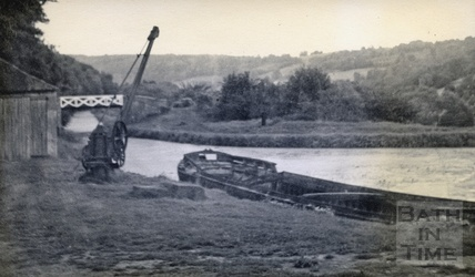 The crane and bridge at the wharf at Dundas Aqueduct c.1950