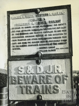 Warning sign on the Somerset & Dorset Railway at Highbridge Crossing c.1950s