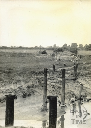 Remains of the steel bridge over the River Yeo near Wick St. Lawrence c.1950s
