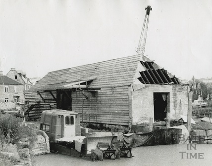 The outside of the wharf building, Bradford-on-Avon during restoration July-Sept 1974
