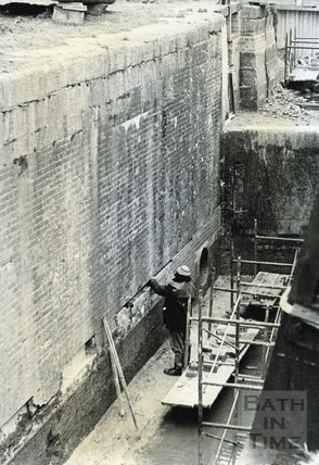 Restoration of brickwork in a lock on the Kennet and Avon Canal, Bradford-on-Avon? c.1974