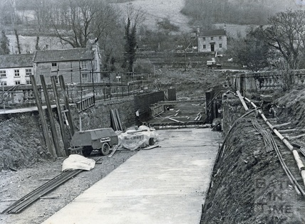 The Avoncliff Aqueduct being relined with concrete during restoration c.1974?