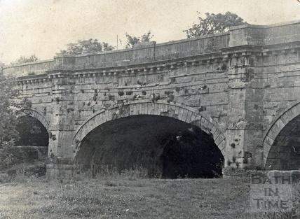 The unrestored Avoncliff Aqueduct c.1970