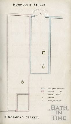 Plan of the location of Pinch's Well, between Monmouth and Kingsmead Street 1836