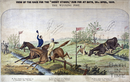 View of the race for the Derby Stakes run for at Bath, 30th April 1859