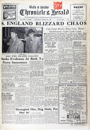 Cover to the Bath & Wilts Chronicle & Herald, Saturday March 29, 1952