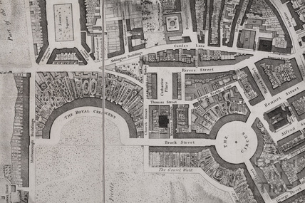 The City of Bath map by Charles Harcourt Masters, Royal Crescent and Circus 1808 - detail