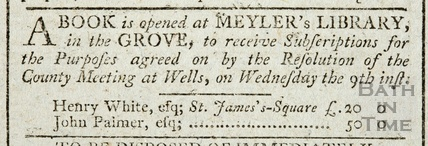 A book is opened at Meyler's Library in the Orange Grove to receive subscriptions 1794