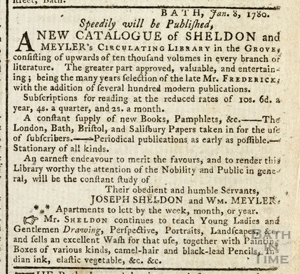 A new Catalogue of Sheldon and Meyler's Circulating Library at the Orange Grove 1780