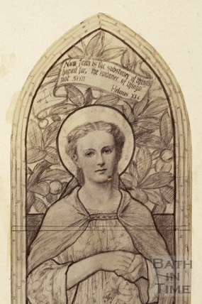 Design for stained glass window of Lady Margaret Carnegie (detail)