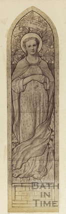 Design for stained glass window of Lady Margaret Carnegie