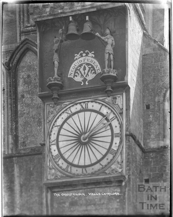 Detail of the Great Clock, Wells Cathedral c.1930s