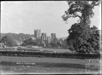 Distant view of Wells Cathedral c.1930s