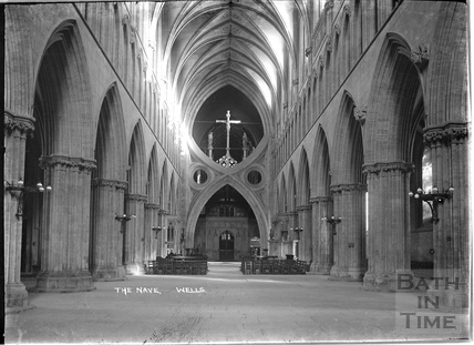 The nave, Wells Cathedral, c.1930s