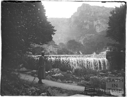 The top waterfall, Cheddar Gorge c.1930s