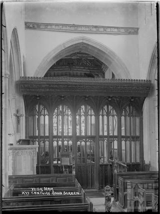 Inside High Ham Church, Langport, c.1930s