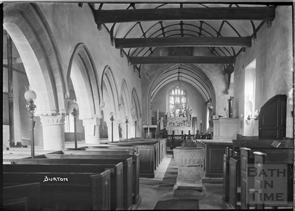 Inside Church of St Mary the Virgin, at Burton (Nettleton) , Wiltshire c.1930s