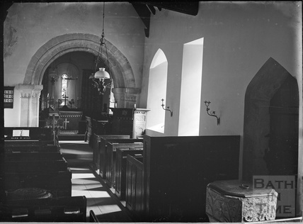 Inside Church of St Michael, Duntisbourne Rouse, Glos,.1930s