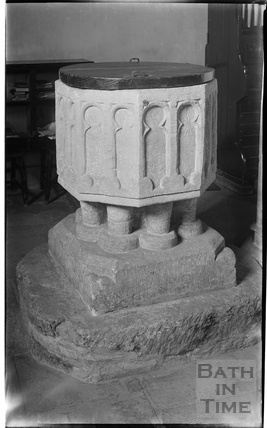 Font, Church of St Mary the Virgin, Boxwell  Glos, c.1930s