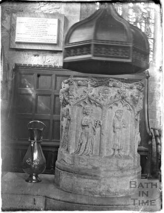 Font, Burford church, Oxfordshire, c.1930s