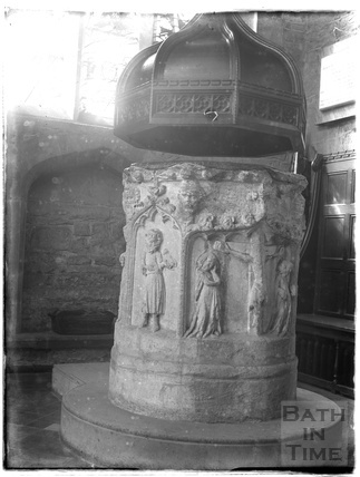 Font, Burford church, Oxfordshire, c.1930s
