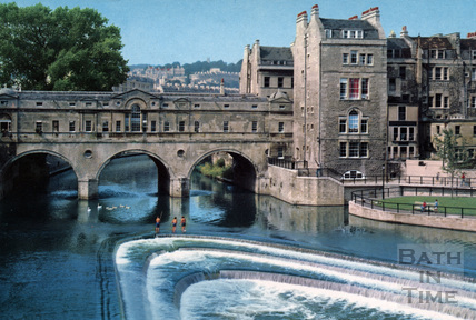 Fishing on the new weir at Pulteney Bridge c.1970s