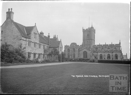 The Manor and St Mary Magdalene church, Ditcheat near Shepton Mallett, Somerset c.1936