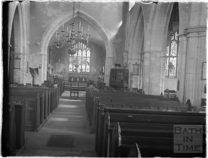 Inside the Church of the Holy Cross, Ramsbury, near Marlborough Wiltshire, c.1920s