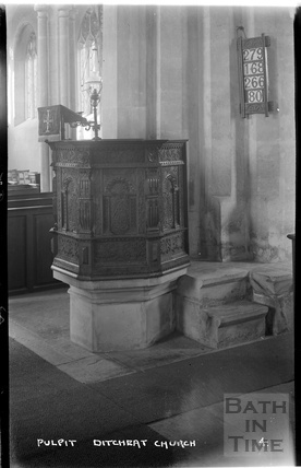Pulpit from St Mary Magdalene church, Ditcheat near Shepton Mallett, Somerset c.1936