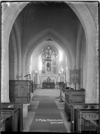 Inside St Mary Magdalene church, Ditcheat near Shepton Mallett, Somerset c.1936