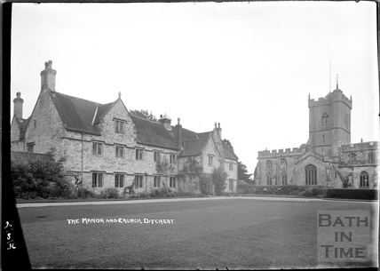 The Manor and St Mary Magdalene church, Ditcheat near Shepton Mallett, Somerset 2 August 1936