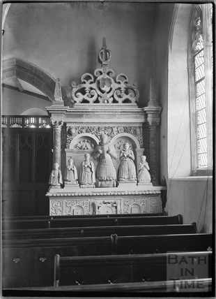 Medieval memorial inside the church of St Michael, Aldbourne near Marlborough, Wilts c.1920s