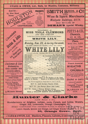 Engagement of Miss Viola Clemmons and her Company. White Lily November 23 1891