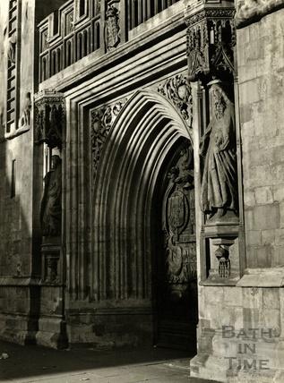 The West Door, Bath Abbey, 1950s