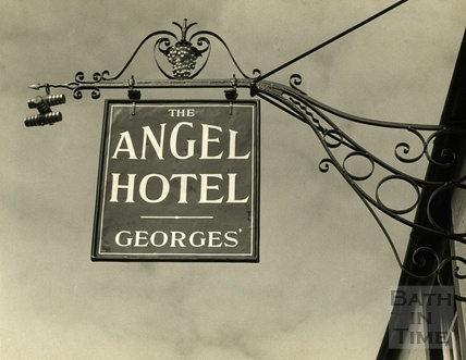 The Angel Inn pub sign, Frome 1953
